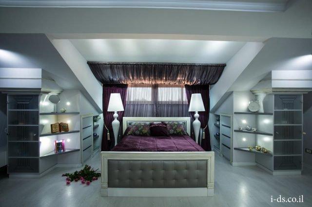עיצוב יוקרתי לחדר שינה מפואר בסגנון קלאסי.אירנה פטרושקו אדריכלית פנים. עיצוב ותכנון דירות ובתים פרטיים