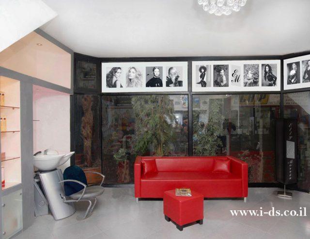 תכנון ועיצוב מספרה -שנת 2005.אירנה פטרושקו אדריכלית פנים. עיצוב ותכנון מקומות ציבוריים