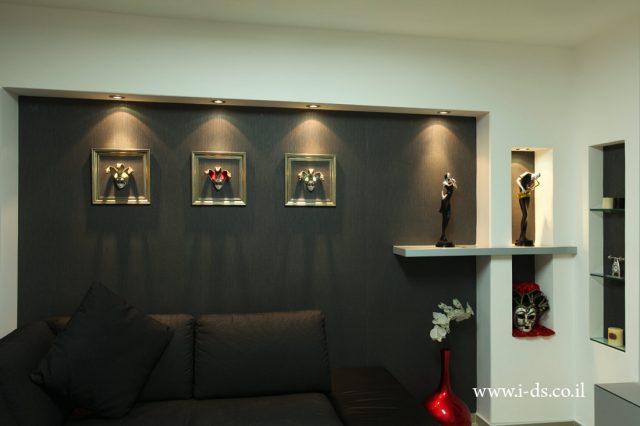 עיצוב חלל סלון. עיצוב שחור לבן.אדריכלית אירנה פטרושקו עיצוב ותכנון דירות ובתים פרטיים