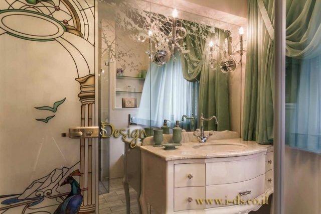 עיצוב חדר רחצה יוקרתי בסגנון קלאסי. אירנה פטרושקו מעצבת פנים. עיצוב ותכנון דירות ובתים פרטיים